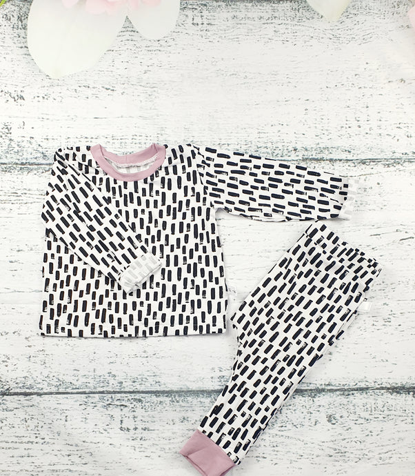 Long Sleeve Mono Dash Top in Dusky Pink