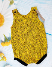 Load image into Gallery viewer, Mustard dots bloomer romper
