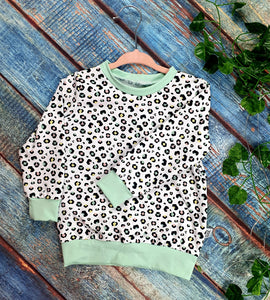 Pastel Leopard Sweatshirt with Mint cuffing