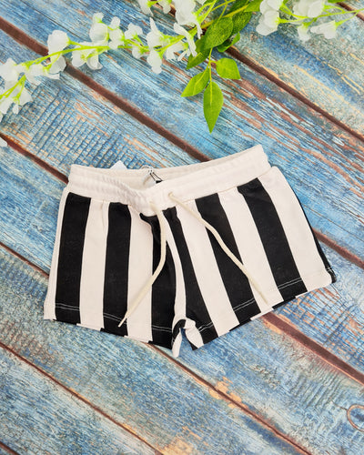 Vertical Stripe black and white shorts