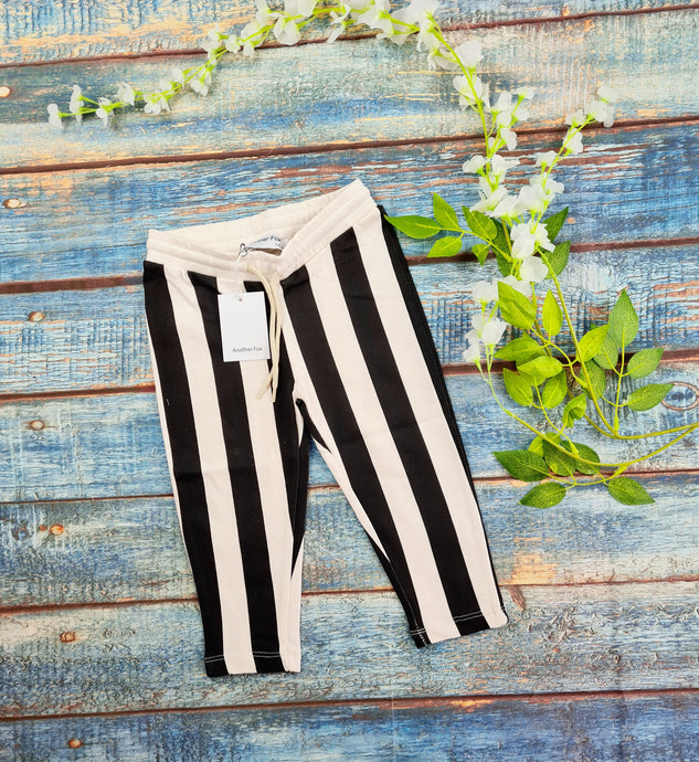 Vertical Stripe black and off white slim sweat pants