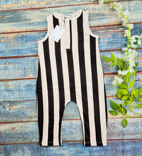 Vertical Stripe off white and black romper