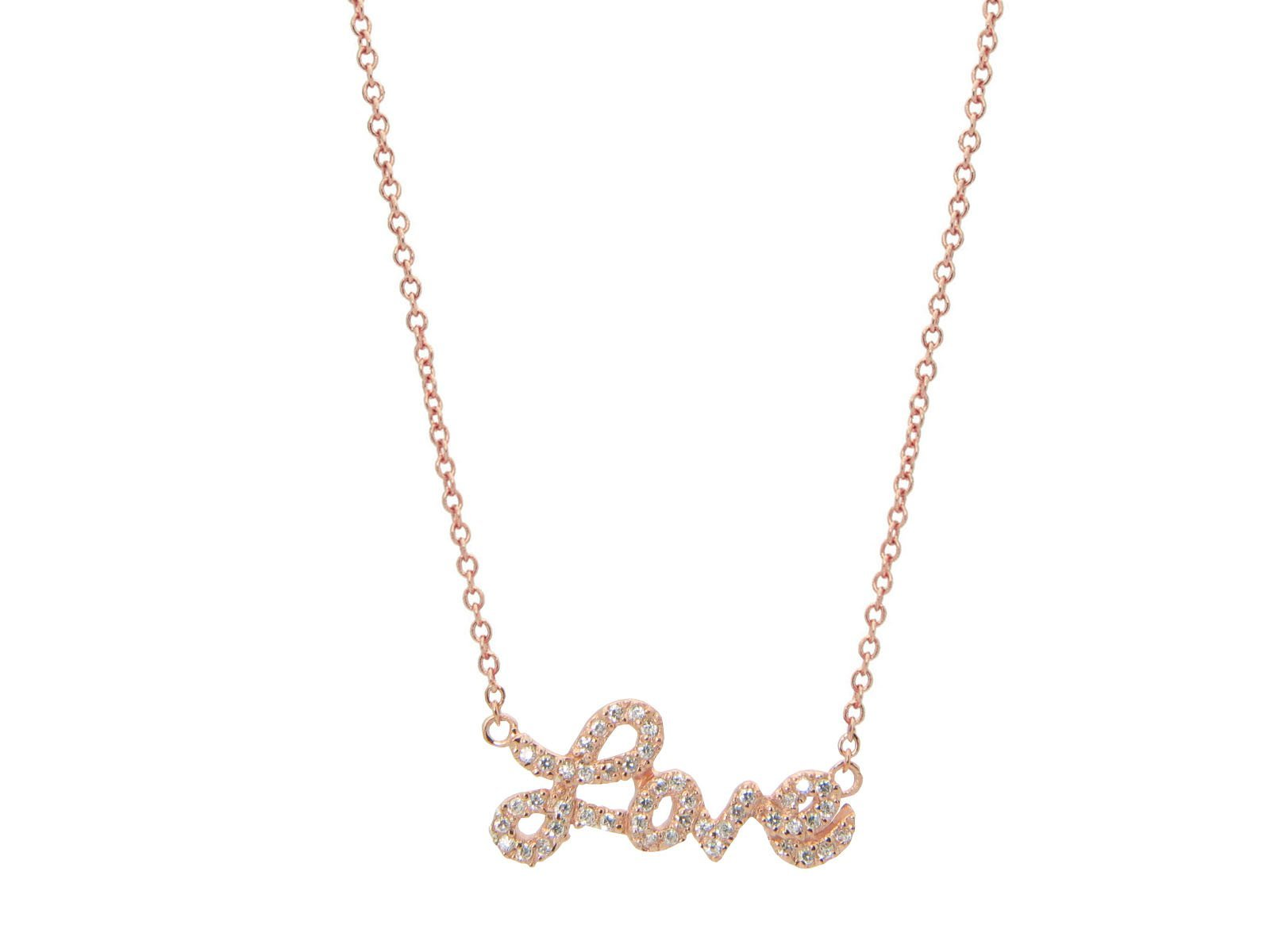 Rose Sparkling Cursive Love Necklace