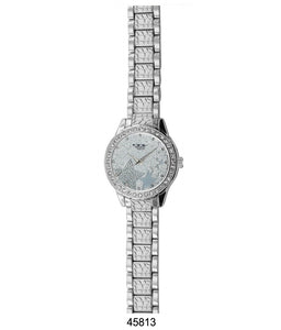 M Milano Expressions Silver Metal Band Watch with Silver Dial