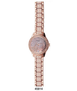 M Milano Expressions Rose Gold Metal Band Watch with Rose Gold Dial