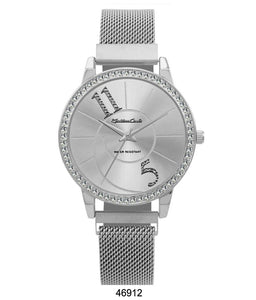 Montres Carlo Silver Stainless Steel Mesh Band Watch with Magnetic Strap