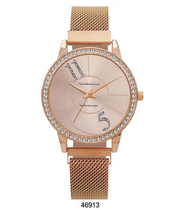 Montres Carlo Rose Gold Stainless Steel Mesh Band Watch with Magnetic Strap