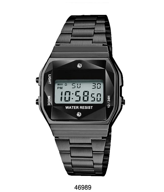 Black Sports Metal Band Watch with Black Metal Case and Black Crystal Cut LCD Display