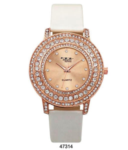 M Milano Expressions Pearly Vegan Leather Band Watch with Rose Gold Stone Case and Rose Gold Dial