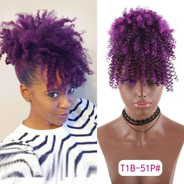 Purple Passion Naturally Curly Ponytail with Bangs - Drawstring Clip-in