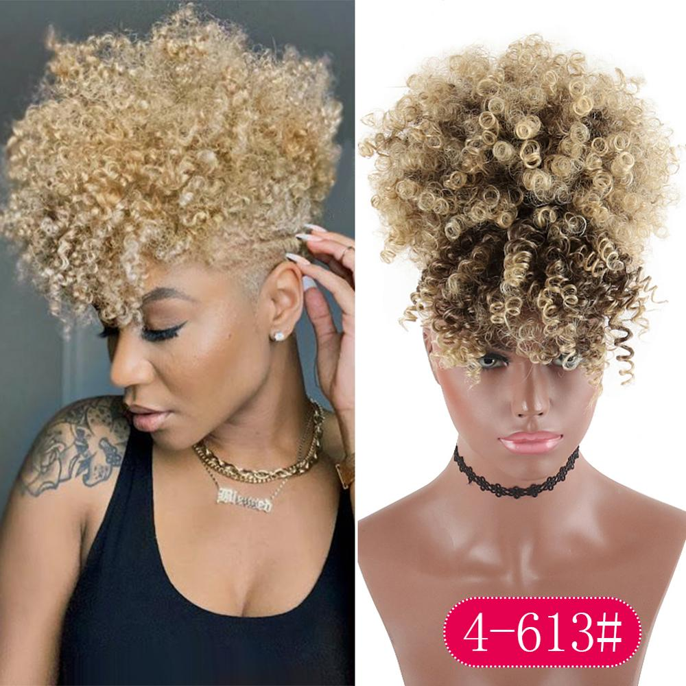 Blonde Naturally Curly Ponytail with Bands - High Puff Drawstring Hair Extension with Clip in
