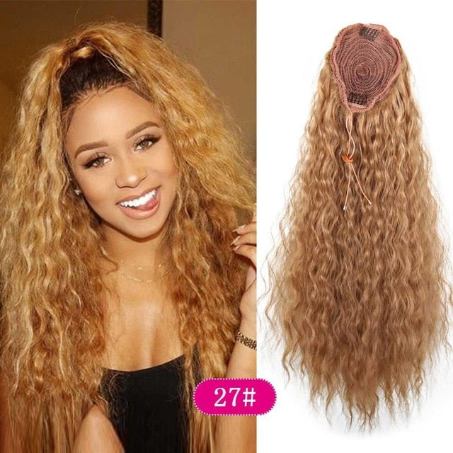 Long Soft Curly Ponytail Extension  - Drawstring Clip-in Hairpiece
