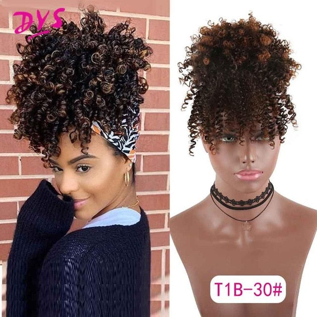 Sexy Natural Curly Ponytail with Bangs - Short  Wrap Drawstring