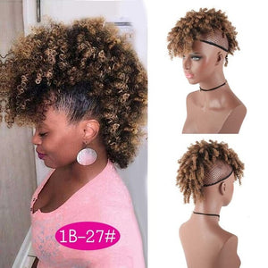 Naturally Curly Mohawk with Bangs - Drawstring Ponytail