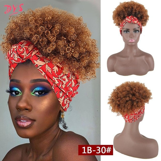 Puff Curly Afro Drawstring Wrap-Ponytail 2 in 1 Updo