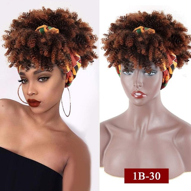 Cute and Sassy Curly Afro Wig - Drawstring Wrap-wig 2 in 1 Updo Head-Wrap
