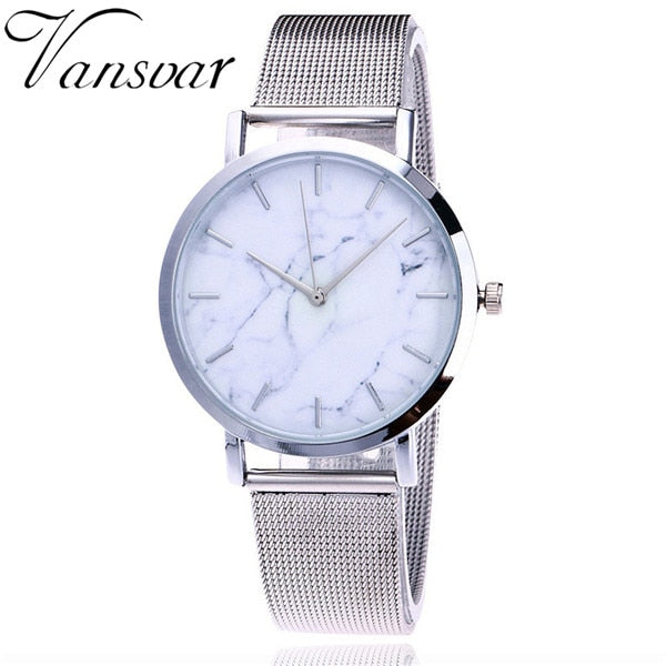 Silver & Gold Mesh Band Quartz Watch  with Marble Face