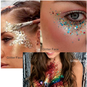 Rose Gold Glitter Face and Body Makeup