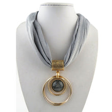 Load image into Gallery viewer, Circular Alloy Pendant Collar Scarf Necklace