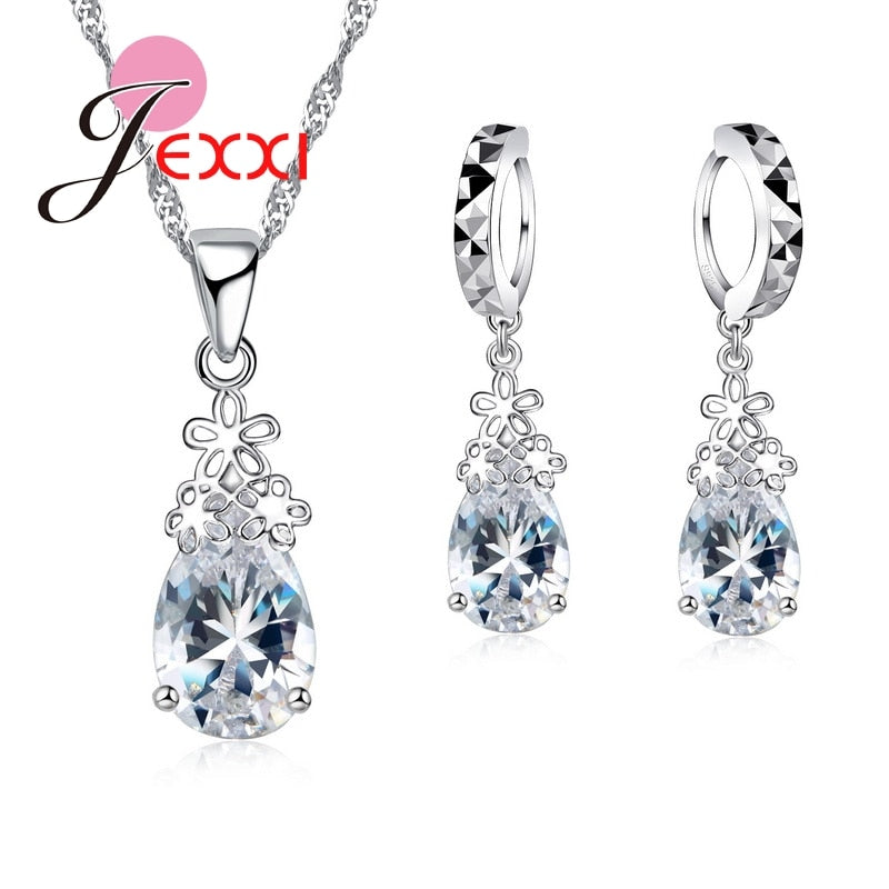 Sterling Silver Teardrop  Crystal Necklace & Earrings Set