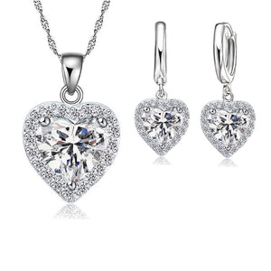 Sterling Silver Austrian Crystal Heart Jewelry Set