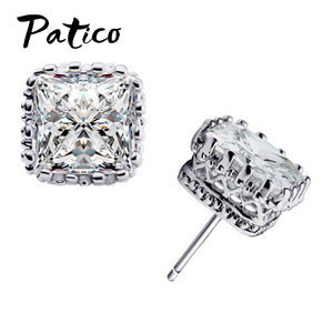 Sterling Silver Stud Earrings With Square Diamond CZ
