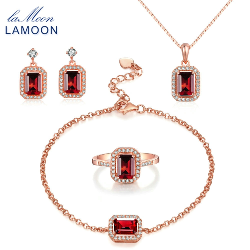 4 pcs Red Garnet Jewelry Set