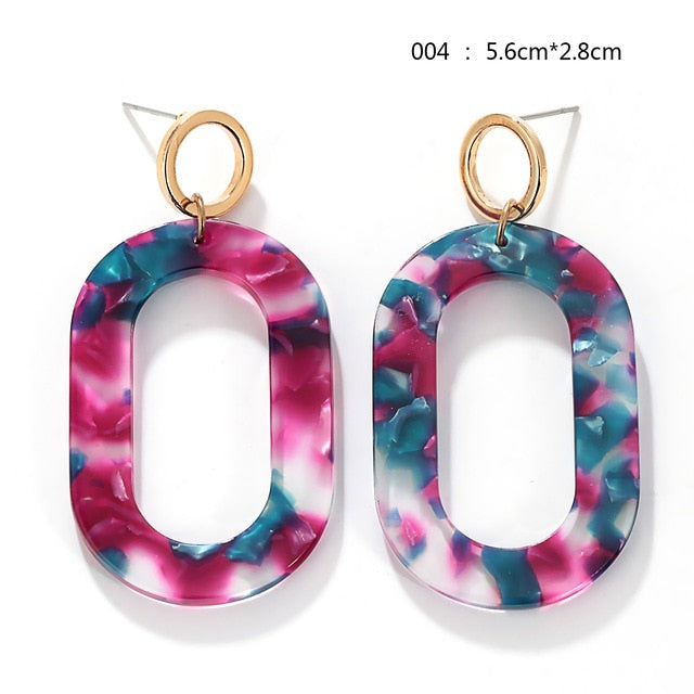 Large Color Block Earrings