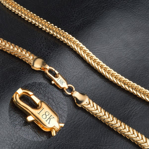 18K GOLD Braided Square Wheat Chain Necklace with Lobster Claw Clasp