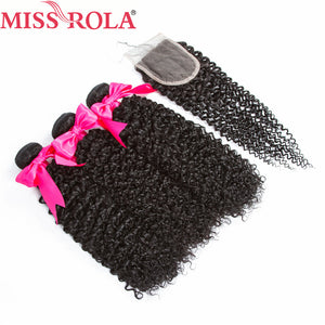 Peruvian Kinky Curly Hair Bundles with Closure