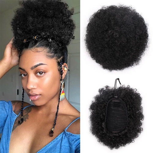 Short Curly Afro Ponytails w/Drawstring