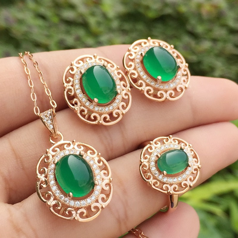 Natural Gemstone Earrings Ring and Necklace Set