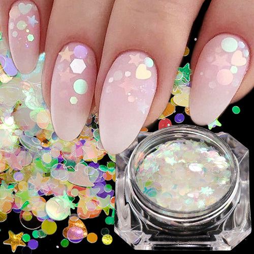 1 Holographic Nail Glitter Flakies Mix Star Round Heart Mermaid Mirror Sequins