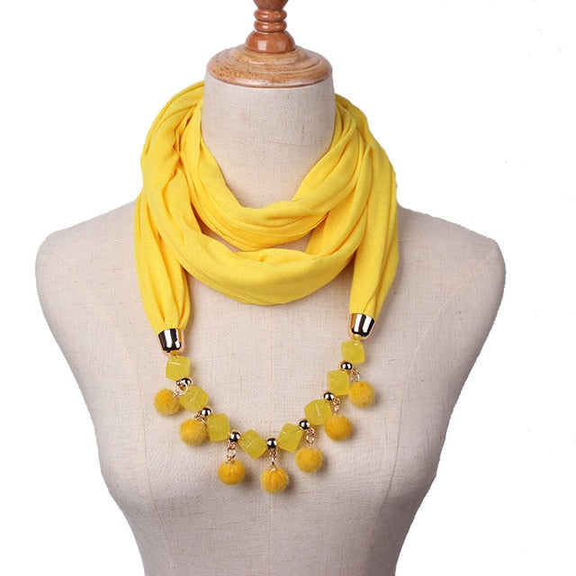 Charm Pendant  Ball Scarf Necklace