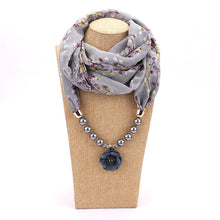 Load image into Gallery viewer, Elegant Silk Floral Pendant Necklace With Muslim Hijab Scarf