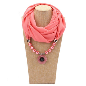 Elegant Silk Floral Pendant Necklace With Muslim Hijab Scarf
