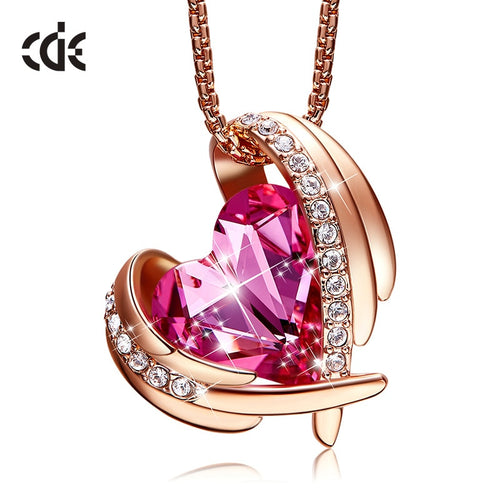 Angel Wing 18K Rose Gold Pendant Necklace Heart-Shape Swarovski Crystal