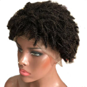 Natural Looking African Curly Lace Front Human Hair Wig