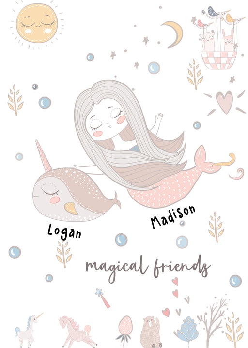 Best Friends Card - Custom Card for Besties with their names - Magical Friends