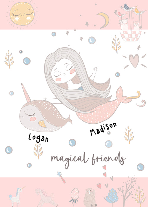 Custom Best Friends Card - Custom Card for Besties with their names - Magical Friends