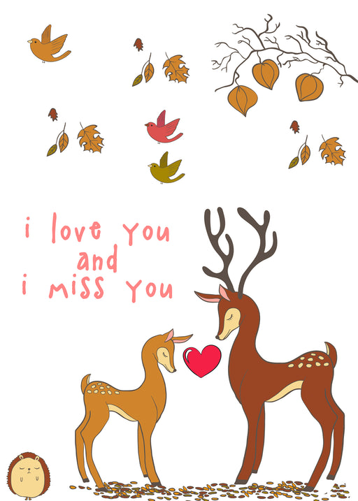 Cute Couples Card - I love you and I miss you - Deer love