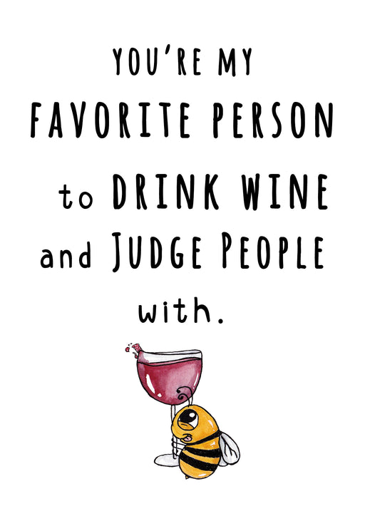 Best Friends Card - Drinking wine buddies Card
