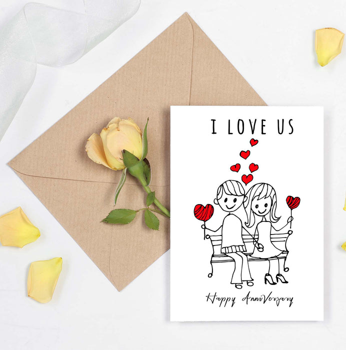 I love us Card - Wedding Anniversary or Valentines day card