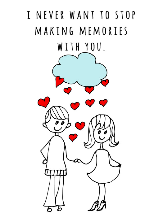 Cute Couple Card - Emotional Greeting Card, Making Memories with your husband or boyfriend - Valentines Day Card