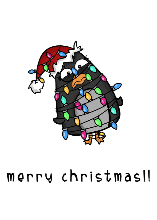 Merry Christmas Card - Funny and creative card for loved ones - penguin card