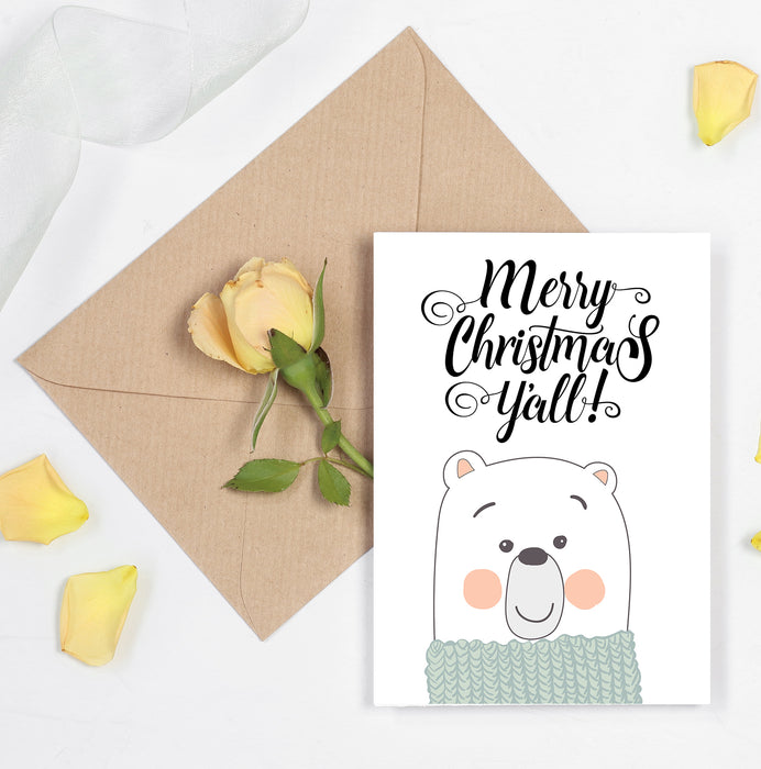 merry christmas y'all - cute bear greeting merry christmas card