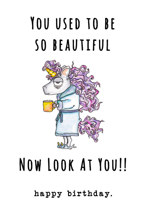 Funny Birthday Card - you used to be so beautiful now look at you