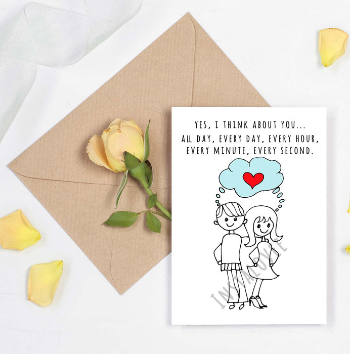 Cute Couples Card - Anniversary Card or Valentines Day Card