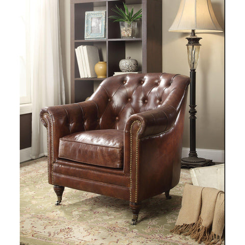 Acme Aberdeen 53627 Top Grain Leather Chair-Arm Chairs-Acme-bedsville.com