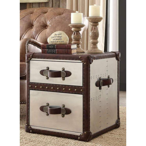 Acme Aberdeen 82292 Top Grain Leather and Aluminium End Table-End Tables-Acme-End Table-bedsville.com